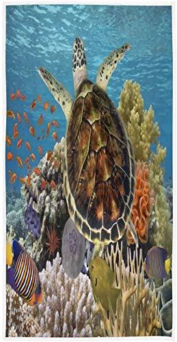 Tortuga de mar Nadando Océano Coral Reef Toalla de impresión Personalizada 27,5' x15,7 Toalla de Cara Suave Absorbente Toalla de baño de Cocina para el hogar Toalla para Invitados