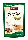 animonda Rafiné Adult Katzenfutter, Nassfutter für ausgewachsene Katzen, Frischebeutel, mit Rind, Gans + Apfel, 12 x 100 g