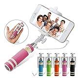 FINCO (TM) Foldable Super Mini Wired Selfie Stick Handheld Extendable Monopod (Pink)