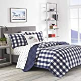 Eddie Bauer Home   Lakehouse Collection Quilt Set-100% Cotton, Reversible, Medium Weight Bedding with Matching Sham(s), Queen, Blue