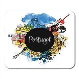 Mauspads Lissabon Portugal Handgezeichnete Aquarell Wahrzeichen Stadt Reise Straße Mauspad 9,5'x 7,9' für Notebooks, Desktop-Computer Zubehör Mini-Bürobedarf Mauspads