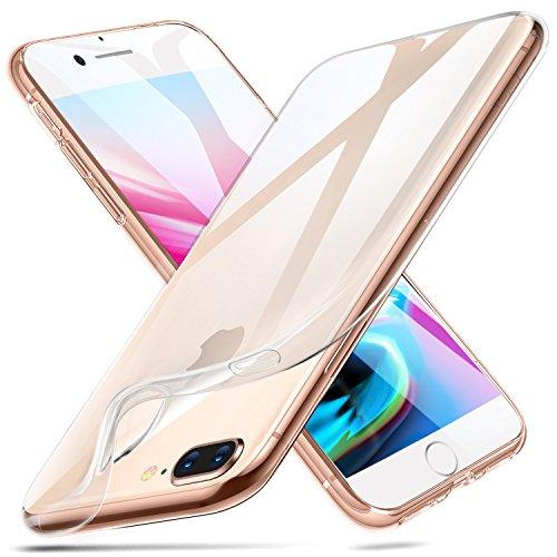 ESR Funda Compatible con iPhone 8 Plus/7 Plus, Carcasa Protectora Antigolpes Transparente con Parachoques de TPU Suave Flexible, Anti- Arañazos,Transparente