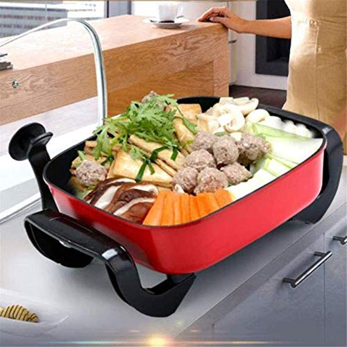 Parrilla eléctrica portátil, Cocina múltiple cuadrada - sartén eléctrica con tapa de...