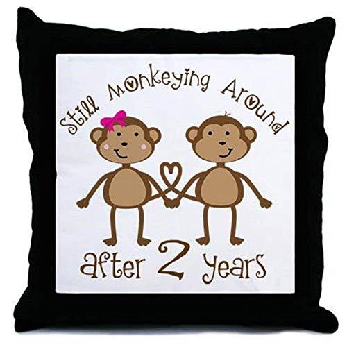 Funda de cojín de lona con diseño de monos de amor para niñas, 45 x 45 cm