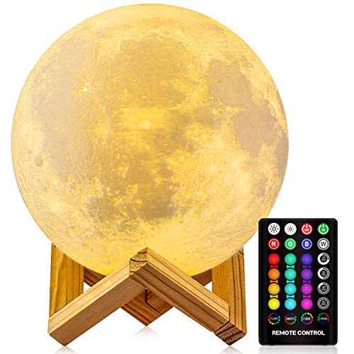 Moon Lamp Moon Night Light,3D Printing 16 Colors Moon Light with Stand & Remote &Touch Control and USB Rechargeable Decorative Light Up Moon Lights for Kids Lover Birthday Day Girls Gifts - 4.8 Inches