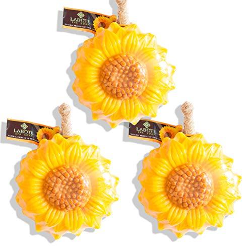 LABOTE Handgemachte thailändische Bio Naturseife Sonnenblume mit typischem Duft, 3 Stück