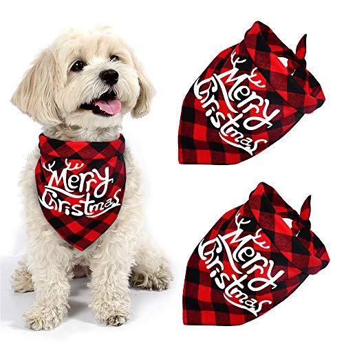 Yodofol Dog Christmas Bandana, Buffalo Plaid Pet Bandana Reversible Triangle Merry Christmas Bibs Accessories for Dogs Cats Pets (Merry Christmas (Red + Red))
