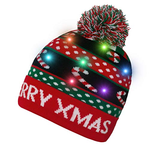 Yidarton Women Beanie Hat Led Xmas Cap Winter Knit Slouchy Warm Light Up Christmas Hat Ugly Sweater Holiday Party Hat Unisex