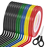 Cridoz 15 Rolls 1/8 Whiteboard Tape Pinstripe Tape Dry Erase Board Thin Tape Lines Pinstriping Graphic Chart Line Grid Marking Tape, 108 Feet Per Roll