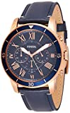 Fossil Men's Grant Sport Quartz Stainless Steel and leather Dress Watch Color: Rose gold, Navy...