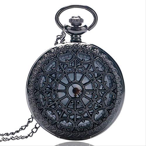 YYhkeby Bolsillo WatchVintage Black Spider Web Reloj de Bolsillo con Collar de Cadena Colgante Steampunk Hour Style Style Regalo Kiakai (CO Jialele (Color : Black)