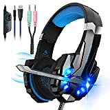 Hunterspider V9 Noise Cancelling Stereo Gaming Headset for PS4, Xbox One, Nintendo Switch Controller, Mac, PC with Mic, LED Light, Bass Surround Soft Memory Earmuffs Over Ear Headphones …