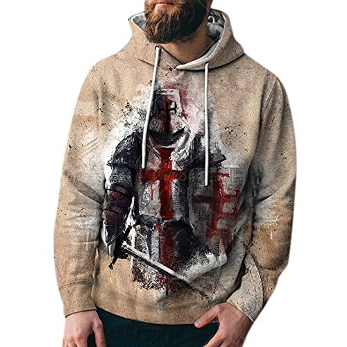 Jersey para Hombre Caballeros Templarios Sudadera 3D Disfraz de Cosplay - Sudadera con Capucha Estampada con Armadura Medieval