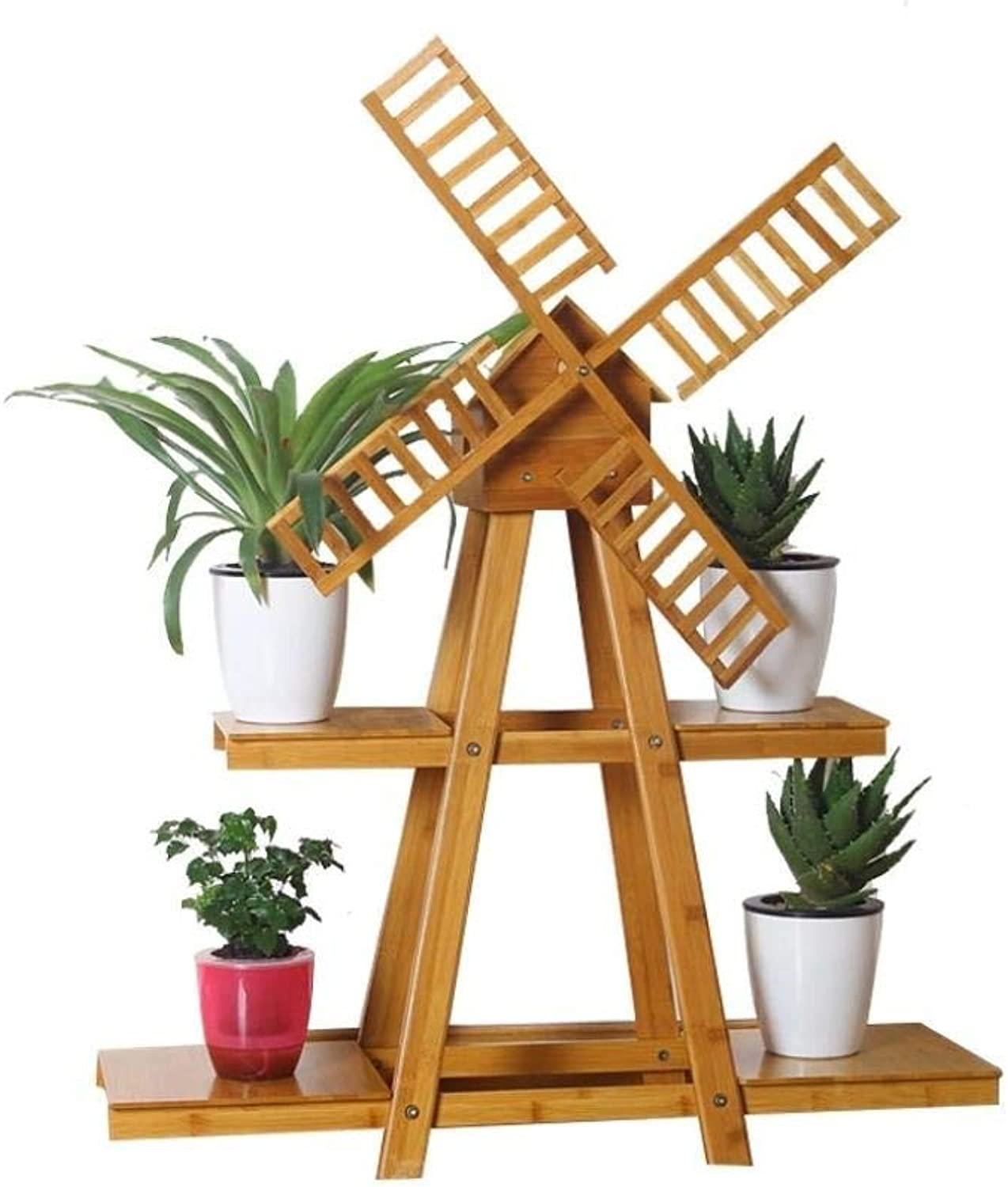 Flower Stand - Bamboo and Rattan Windmill Floor Plant Flower Pot Display Stand, Multi-Layer Balcony Living Room Multi-Function Rack, Storage Rack (Size   2 Tier)