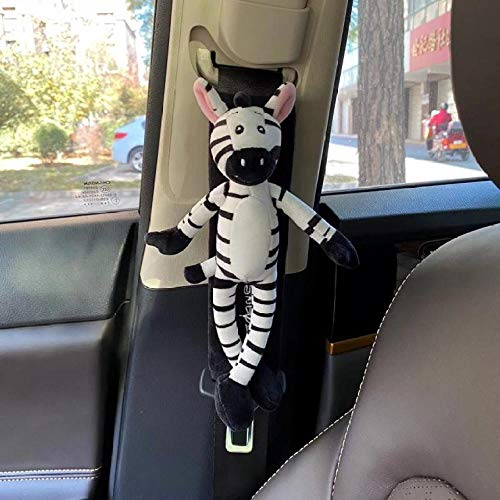 Car Seat Belt Pads, 2 Pack Harness Pads, Pram Strap Covers, Backpack Shoulder Pad, Multifunctional Seat Belt Pad Cover for Kids and Adults-Long-eared zebra black
