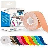 Proworks Kinesiologie Tape [5cm x 5m Rollenlänge] Tape für Muskeln und Gelenke [Wasserfest] für Training, Physiotherapie und Schmerztherapie Hautfarben
