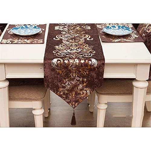 QXbecky Camino de Mesa Bronceado Retro Franela de Lujo Mesa de Comedor de Alta precisión Mesa de Centro Zapatero Mantel Mueble de TV Mantel de té Cama Bandera32x270cm