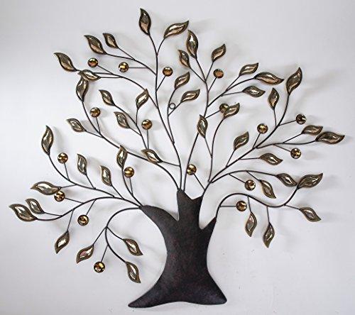 Formano Wanddeko Baum aus Metall mit Glaselementen an den Zweigen Braun Amber 74 x 83 cm