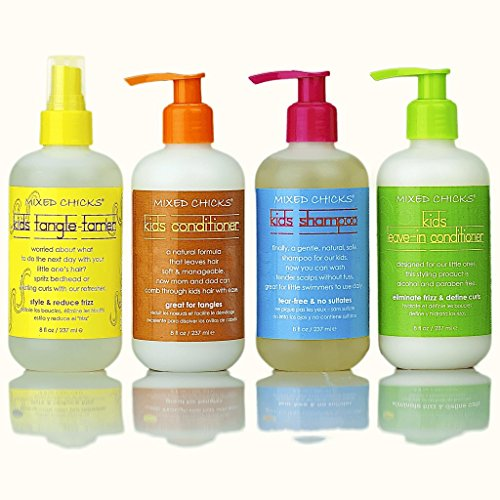Mixed Chicks Kid's Quad Pack - Shampoo, Conditioner, Leave-in Conditioner, Tangle-Tamer, 8...