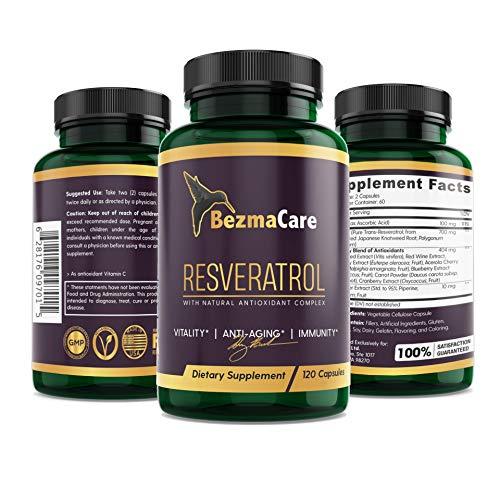 RESVERATROL-Maximum Strength Natural Formula, 1200mg, 120 Capsules, Vegan, Highest Absorption Trans-Resveratrol, Boosts Immune System, Anti-Aging, Cardiovascular Health, Enhanced Antioxidant