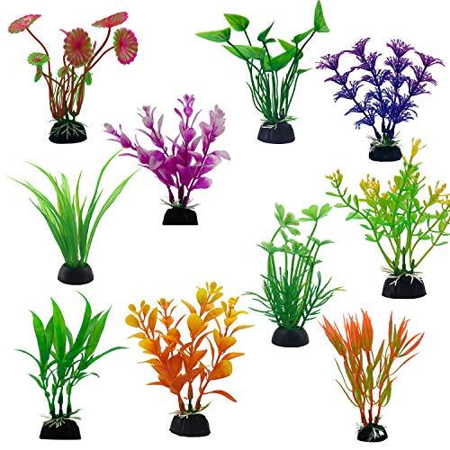 Jieddey Plantes Aquatiques Artificielles,20 PCS Plante Aquarium Artificiel Decoration Aquarium en Plastique pour Ornement d'aquarium Déco