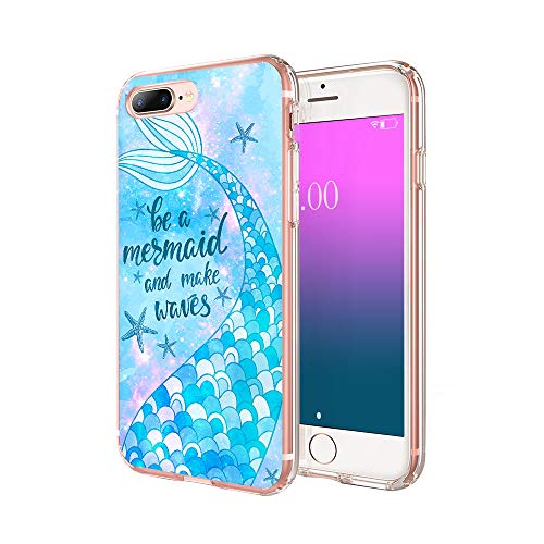cocomong Mermaid Phone Case Compatible with iPhone 8 Plus Case Mermaid iPhone 7 Plus Case for Girls Men, Cute Shiny Mermaid Gifts for Women, Slim Fit Soft TPU Cover Shockproof Clear Thin 5.5'