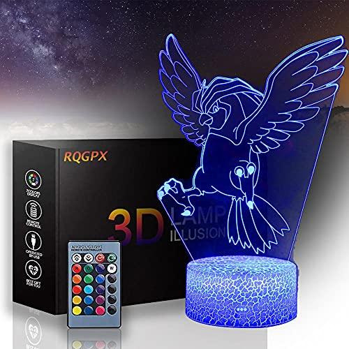 3D Pidgeotto lámpara de ilusión óptica, luz de noche para niños 16 colores con lámpara de mesa LED remoto