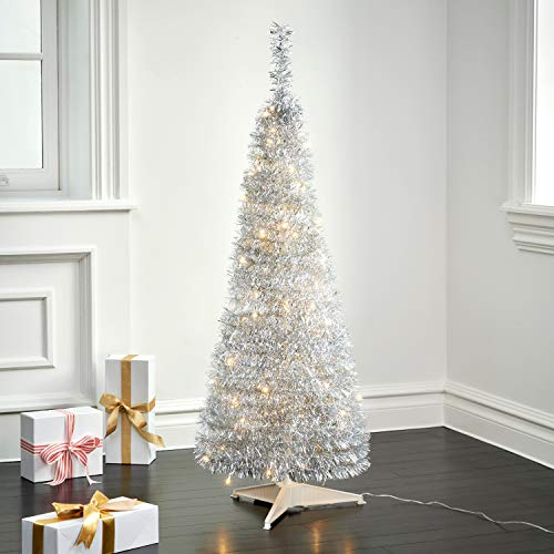 Pop Up Christmas Tree with Lights - 4 Ft, Silver Tinsel, Collapsible for Easy Storage, 100 LED Lights Included, Slim 17 Inch Diameter, Prelit Modern Style Artificial Pencil Tree