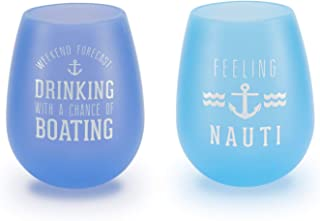 Pavilion Gift Company We People The Boat Life Purple and Blue Silicone Wine Glass Set, Multicolor