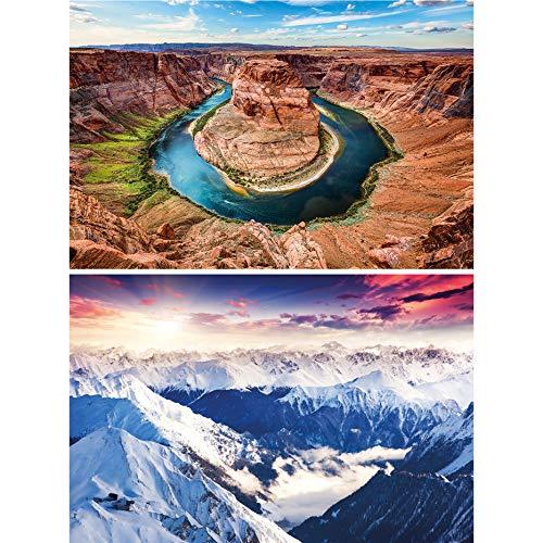GREAT ART Juego de 2 carteles XXL panorámicas decoración de paredes montañas y gargantas - Alpes Horseshoe Bend Canyon Europa América foto fondo de pantalla (140 x 100 cm)