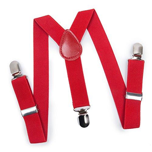 ELENKER Baby Boys Adjustable Elastic Solid Color 1 inch Suspenders (Size 30', Red)