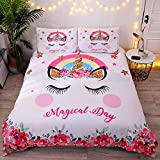 DEERHOME Cute Flower Unicorn Kids Bedding White Pink Golden Ears Unicorn 3 Pieces Bedding Duvet Cover Sets Gifts for Teens and Girls,Twin Size