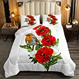 Erosebridal Red Poppy Duvet Insert Robin Bird Comforter Set for Kids Child...