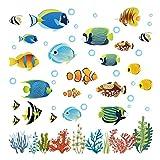 decalmile Pegatinas de Pared Tropical Peces Vinilos Decorativos Bajo el Mar Adhesivos Pared Bebé Niños Habitación Baño
