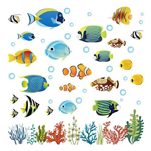 decalmile Wandtattoo Tropischer Fisch Wandsticker Unter dem Meer Wandaufkleber Kinderzimmer Badezimmer Schlafzimmer Wanddeko