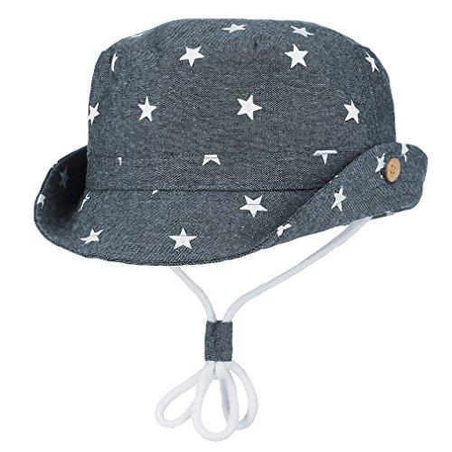 Cloud Kids Chapeau Bob Bébé Enfant Chapeau de Soleil Unisexe en Coton Pliable Protection Anti-UV Solaire Plage Été Voyage (Bleu foncé, 50CM pour 1-2 Ans)
