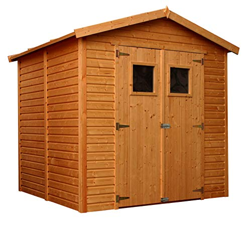 TIMBELA Surface Treated Wooden Garden Shed - Outdoor Storage with Windows – W8ft x L7ft x H7ft Timber Shiplap Shed - Garden Workshop - Bike, Tool Shed Storage M351I