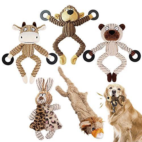 AYUQI Hundespielzeug, 5 Stücke Hundespielzeug Quitschend Plüschtier Zahntraining Spielzeug Hund Kauspielzeug Interaktives Spielzeug für Welpen Kleine Medium Groß Hund(5 Stücke)