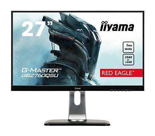 iiyama G-MASTER Red Eagle GB2760QSU-B1 68,58 cm (27') Gaming Monitor WQHD (DVI, HDMI, DisplayPort, USB 3.0) 1ms Reaktionszeit, 144Hz, FreeSync, Höhenverstellung, Pivot, schwarz