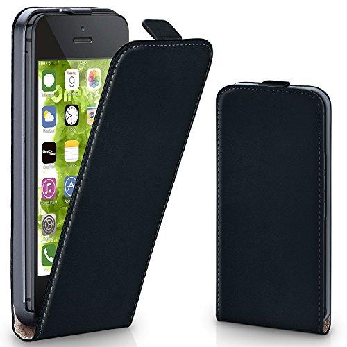 MoEx® Flipcase kompatibel mit iPhone 5S / 5 / SE (2016) | Klapphülle Handytasche mit Rundum Schutz - Handy Hülle Klappbar Flip Case, Schwarz