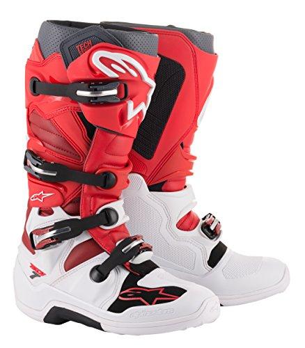 Alpinestars 2012014-2033-10 Unisex-Erwachsene Tech 7 Stiefel, Weiß/Rot/Burgunderrot, Größe 44 (Mehrfarbig, Einheitsgröße)