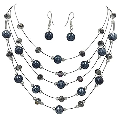 Multi Row Beaded Illusion Wire Lightweight Necklace and Dangle Earring Set