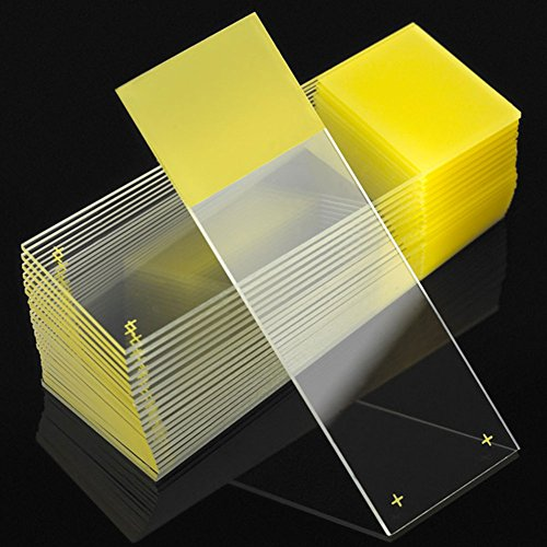Globe Scientific Diamond 1358Y White Glass Charged Microscope Slide, 25 x 75mm Size, Ground Edges, Yellow Frosted (1,440 slides)