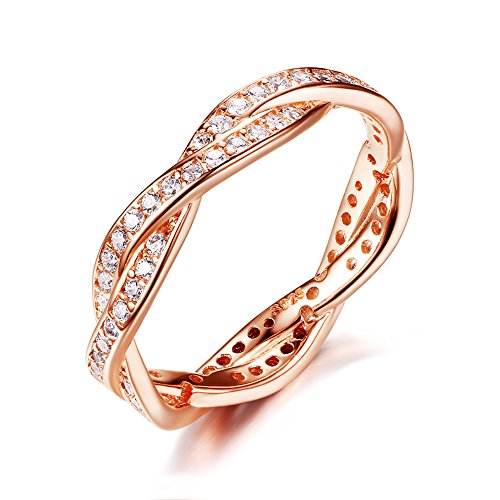 Presentski 925 Sterling Silver Promise Ring with CZ, Rose Gold Plated, Size O
