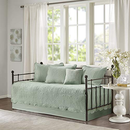 Madison Park Daybed Cover Set-Trendy Damask Quilting with Scalloped Edges All Season Luxury Bedding with Bedskirt, Matching Shams, Decorative Pillow, 75'x39', Tuscany Seafoam, 6 Piece
