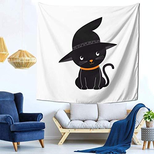 Lsjuee Cute Halloween Cat Clipart Tapestry Wall Hanging Home Decor Fan Art per Camera da letto Soggiorno Dormitorio