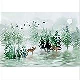Anasc Fantasy Woods Elk Fresco-Studio-Dekoration Großes Wandgemälde-Wohnzimmer Tv-Background Wandtuch 260x175cm