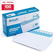 #6 3/4 Security Tinted Self-Seal Envelopes - No Window, Size 3-5/8 X 6-1/2 Inches - White - 24 LB - 100 Count (34600)