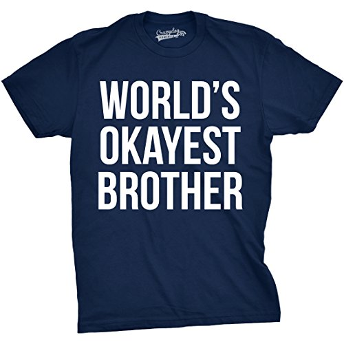 Mens Worlds Okayest Brother Shirt Funny T Shirts Big Brother Sister Gift Idea (Navy) - L