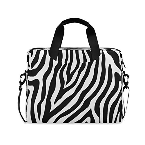 Yulife Animal Zebra Print Laptop Bag Sleeve Case for Women Men Abstract Briefcase Tablet Messenger Shoulder Bag with Strap Notebook Computer Case 14 15.6 16 Inch for Kids Girls Business